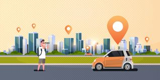 Man looking through binoculars searching automobile vehicle rent car sharing concept transportation carsharing service. Modern cityscape background horizontal vector illustration
