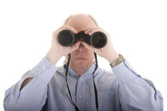 Man Looking Through Binoculars Straight On Royalty Free Stock Photos