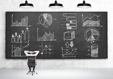 Man looking at blackboard and thinking royalty free stock images