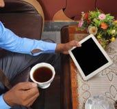 Man looking at blank tablet pc screen Stock Photos