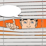Man Looking Through the Blinds. Pop Art retro illustration. Man Looking Through the Blinds. Pop Art Vector retro illustration Stock Photos