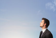 Man looking at the blue sky copyspace Royalty Free Stock Images