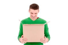 Man looking into box Royalty Free Stock Image