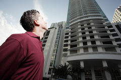 Man looking at a building Royalty Free Stock Photo