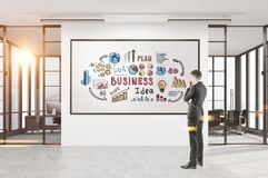 Man looking at business idea poster, office. Rear view of a businessman looking at a blank poster standing in a room with a business idea sketch on a white wall Stock Image
