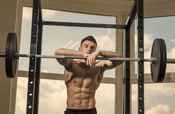 Man looking at camera. Handsome man face. Sportsman, athlete with muscles looks attractive. Sport and gym concept. Man. With torso, muscular macho lean on royalty free stock image
