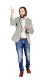 Man looking at camera and pointing finger up. image isolated ove Stock Photo