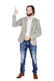 Man looking at camera and pointing finger up. image isolated ove Royalty Free Stock Photography