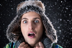 Man looking at the camera with snow Stock Photography