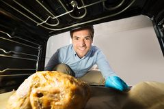 Man Looking At Chicken View From Inside The Oven Stock Image