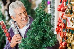 Man Looking At Christmas Tree In Store Stock Photo