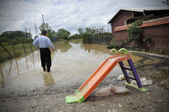 Man looking the consequences of flooding. stock photos