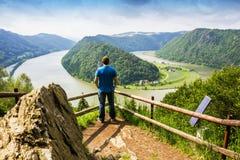 Man looking on Danube river. Austria. Summer on Danube river. Austria royalty free stock photo