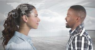 Man looking at digital-looking woman. Digital composite of Man looking at digital-looking woman Royalty Free Stock Photo