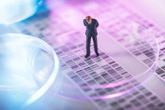 Man looking at DNA gel Royalty Free Stock Images