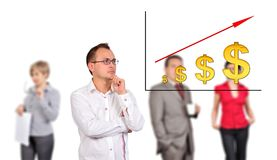 Man looking dollar chart Royalty Free Stock Images