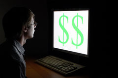 Man looking on dollar sign Royalty Free Stock Photography