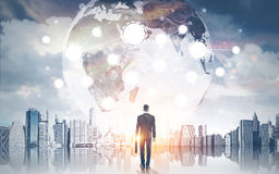 Man looking at Earth from Earth Royalty Free Stock Image