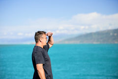 Man looking far away. Middle aged man looking away Stock Images