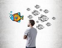 Man looking at fish sketch Stock Images