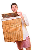 Man looking into flasket Stock Image