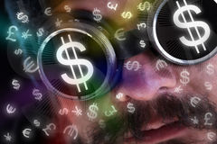 Man looking at flying currency icons Stock Photography