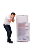 The man looking for food in empty fridge Stock Image