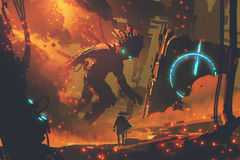 Man looking at giant robot. Sci-fi concept of man looking at giant robot with burning city on background, digital art style, illustration painting Royalty Free Stock Photo