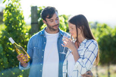 Man looking at girlfriend drinking wine Royalty Free Stock Photo