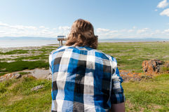 Man looking at the horizon Royalty Free Stock Photo