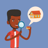 Man looking for house vector illustration. Royalty Free Stock Photos