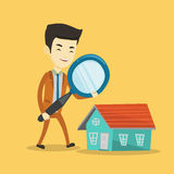 Man looking for house vector illustration. Royalty Free Stock Image