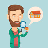 Man looking for a house vector illustration. Stock Image