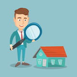 Man looking for house vector illustration. Stock Photo