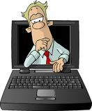 Man looking from the inside of a laptop Royalty Free Stock Photography