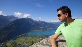 Man Looking the Interlaken Views Stock Images