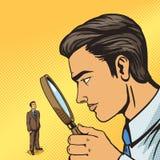 Man looking through magnifier on man pop art Royalty Free Stock Images