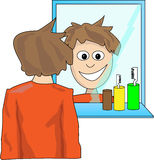 Man looking in the mirror. Young man looking in the mirror Royalty Free Stock Photo