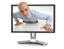 Man looking through the monitor Stock Photography