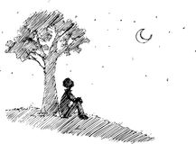 Man looking at the moon vector. Romantic black and white sketchy illustration. Man sitting under a tree looking at the moon Stock Image