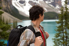 Man Looking at Mountain Lanscape Stock Photography