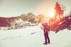 Man looking at mountain top Royalty Free Stock Images