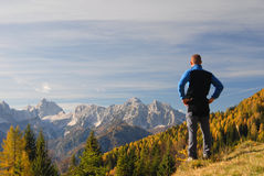 Man looking at the mountains Royalty Free Stock Photography