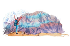 Man looking at natural mountain landscape watercolor illustration. Royalty Free Stock Photography