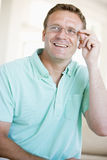 Man Looking Through New Glasses Stock Image