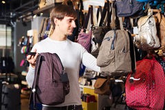 Man are looking for a new satchel Stock Photos