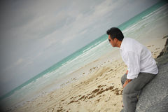 Man Looking At The Ocean Stock Photos