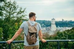 Man looking at old european city Royalty Free Stock Photo
