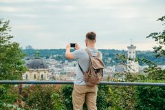 Man looking at old european city Royalty Free Stock Photos