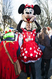 Man looking out Minnie Mouse costume